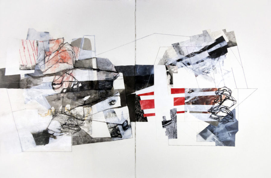 """Along with Regret, 30"""" x 44"""", mixed media on paper"""