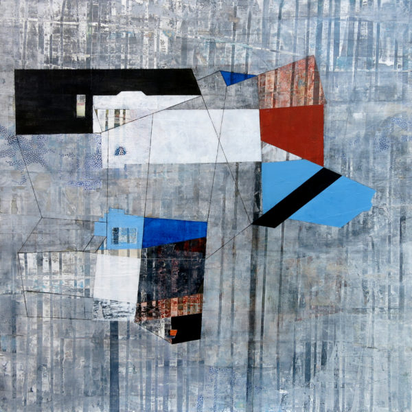 """Collecting Perimeters, 36"""" x 36"""", acrylic and charcoal on collaged panel"""