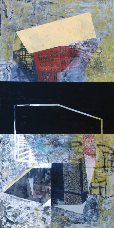"""Driven by Continuous Addition, 36"""" x 18"""", acrylic and pastel on collaged panel"""
