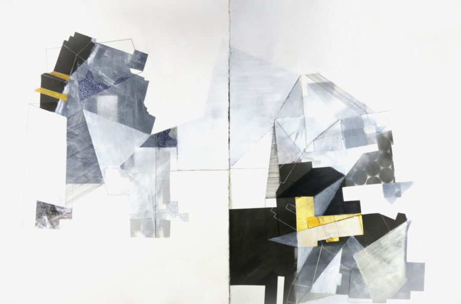 """Held in Common Guessing, 30"""" x 44"""", mixed media on paper"""