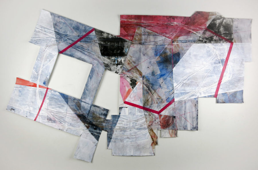 """Once Entered and Exited, approximately 34"""" x 54"""", mixed media on paper"""