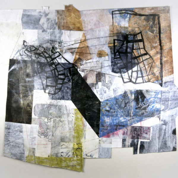 """Self-Protecting Corridors, approximately 45"""" x 51"""", mixed media on paper"""