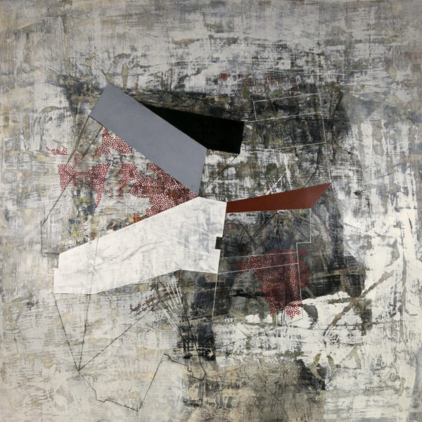 """Sometimes It was Shaky, 36"""" x 36"""", mixed media on panel"""