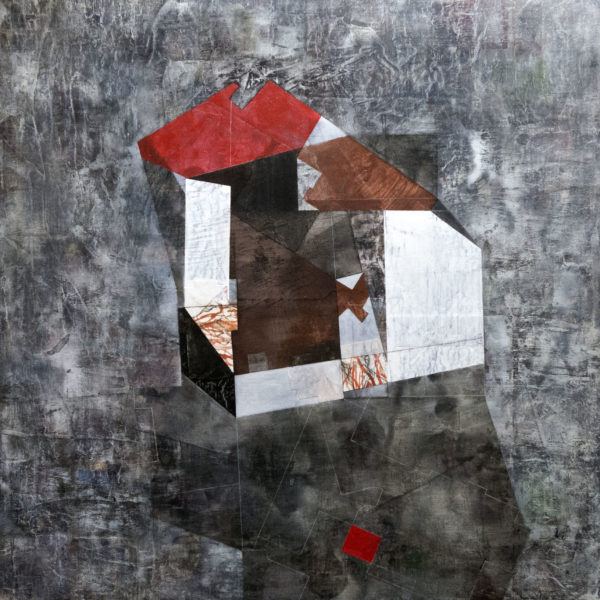 """Having a Wall in Common, 36"""" x 36"""", mixed media on panel"""
